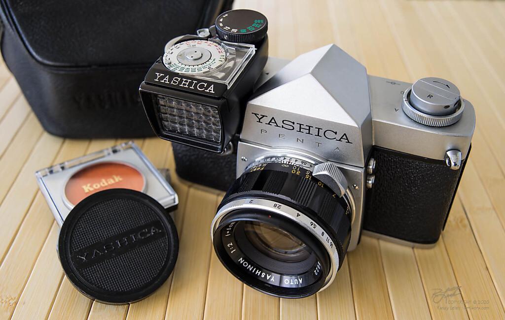 Yashica Penta-J SLR w/ Yashinon 50mm f/2 and optional top-mounted  meter