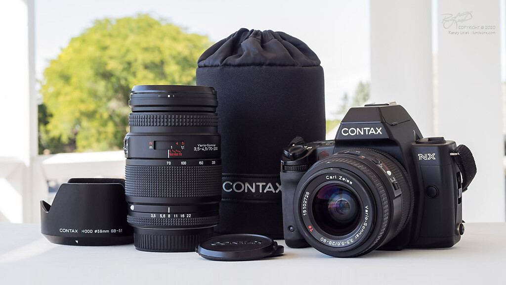 A Contax NX w/ Zeiss T* Vario-Sonnar N 28-80mm f/3.5-5.6 and 70-210mm f/3.5-4.5